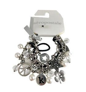 Aeropostale Initial K Charm Bracelet Silver Tone NWT