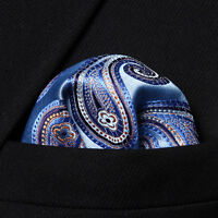 HP705B Blue Orange Paisley Men Silk Party Handkerchief Pocket Square Hanky