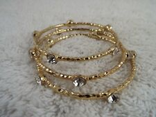 3 pcs Hammered Goldtone Rhinestone Bangle Bracelet SET (C25)