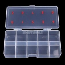 Clear Acrylic Plastic Empty Storage Nail Tips Beads Box Case With 10 Space GOG
