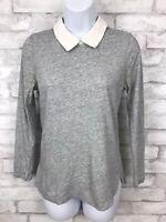 J. Crew Gray Peter Pan Silk Collar 3/4-Sleeve Top Shirt Blouse Zipped Back XS