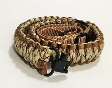 Coyote Brown Tan Camo Paracord 550 Adjustable Gun Sling w/ Swivels Free Shipping