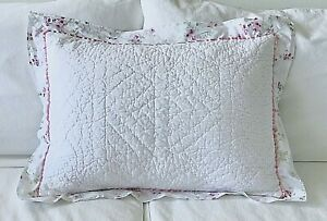 Simply Shabby Chic Quilted Cherry Blossom Pink Floral Std Pillow Sham ~ Cottage