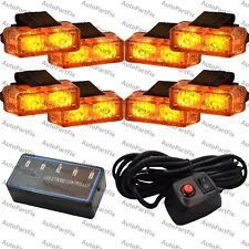 16 LED Amber Light Emergency Warning Strobe Flashing Bar Hazard Grill
