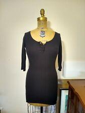 Topshop Black Lace Up Bodycon Sweater Dress S Euc