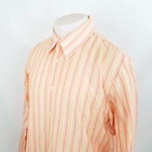 Hugo Boss Button Front Dress Shirt Large L/S Orange Pink Striped Cotton A09-16