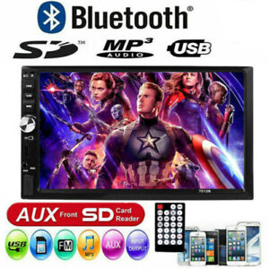 """7"""" 2 DIN Car MP5 Player Bluetooth Touch Screen Stereo Radio HD + Rear Camera"""