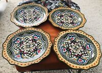 "Pier 1 Imports Hand Painted Earthenware Reyanna Dinner Plates-12""-Set Of 4"