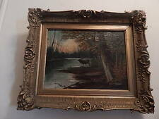 ANTIQUE J DAVIS OIL PAINTING OF A MOOSE IN THE WOODS INTERNATIONAL SALE