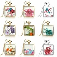 Real Dried Pressed Flower Pendant Necklace Square Glass Floating Locket Jewelry