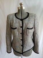 Armani Collezioni Women's Jacket Size 14 Multicolored Tweed Cotton Blend Blazer