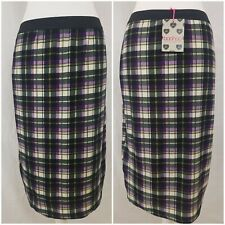 BNWT BooHoo Knit Tartan Kilt Style Midi Skirt Purple Black Stretchy Soft Size 14
