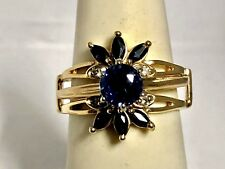 14KTYELLOW GOLD SAPPHIRE & DIAMOND FLOWER INSERT RING JACKET WRAP SZ 6.5