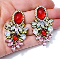 Chandelier Earrings Rhinestone Austrian Crystal 2.3 in Red Pink