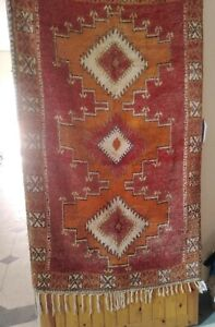 Vitange handmade rug original wool carpet morocco double face knotted multicolor