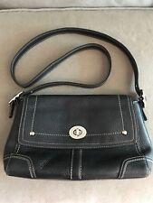 Coach Black Pebbled Leather Shoulder Purse Handbag Bag Silver Hardware