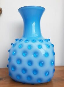 "FAB!! Empoli Italian Blue Cased Seed Pod Hobnail Vase Square 10"""