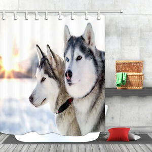 Waterproof Fabric Shower Curtain Set Winter Husky Dog Pet Animals Bathroom Mat