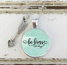 Be Brave Inspirational Charm Silver Tone Pendant Necklace Gift Survivor
