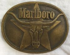 Vintage 1987 Marlboro Philip Morris Solid Brass Longhorn Cowboy Belt Buckle