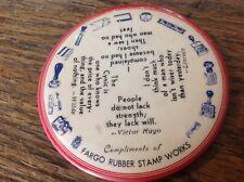 Fargo Rubber Stamp Works Vintage Celluloid Paperweight Mirror