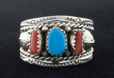 Size 11 1/2, Traditional Style Turquoise & Coral Ring