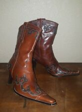 ANTONIO MELANI SZ 6.5 M WESTERN COWGIRL GLOVE FIT LEATHER BOOTS BROWN OVERLAY