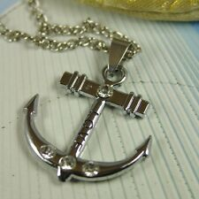 Stainless Steel CZ Unisex Cross Anchor Pendant Necklace