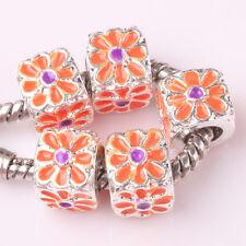 NEW 5pcs Tibetan silver lampwork spacer beads fit Charm European Bracelet #A177
