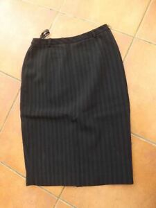 KAREN MILLEN buisness Wool mix, pinstriped Fitted Pencil Skirt, UK 8  w26 23long