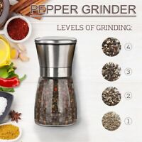 Salt and Pepper Grinder Stainless Steel Glass Manual Spice Mill Bottles