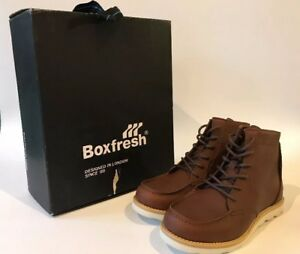 Boxfresh Men's Zelos Brown Leather Ankle Boots Size UK 6 EU 40, New Boxed