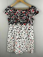 Sasha Drake Australia Womens Black White Red Polka Dot Summer A Line Dress 14