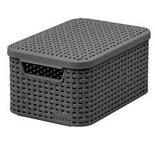 Aufbewahrungskorb Rattan Style 4 Farben Curver S und M  Rattan Optik Deckel Box