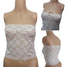 Womens Lace Lingerie Bandeau Stretch Underwear CLUB Tube Top WHITE Plus SIZE 3XL