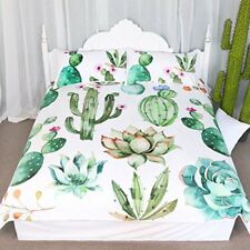 Cactus Pattern Bedding Set Green plants Print 3 Pieces Duvet Cover Nature Full