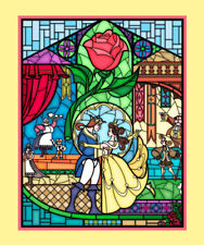 Beauty and The Beast Stained Glass Quilt Fabric Panel *New*