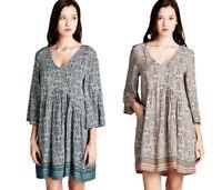JODIFL Womens Boho Chic 3/4 Bell Sleeve Bohemian Casual Print Dress  S M L