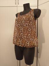 Top Bluse in Braun Gr S von VILa Clothes Leoparden Optik