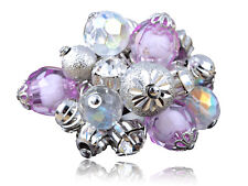 Cluster Stones Trendy Fashion Charm Rings Silver Metal Purple Beads and Baubles