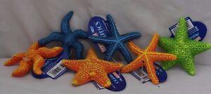 Aquarium Ornament - BRIGHT STARFISH orange blue green fish tank sea creature