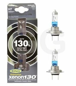 Ring Xenon Performance Uprated H7 Headlight Bulbs 130% More Light 3700K White