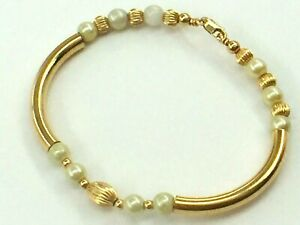 """14K yellow gold handmade tubular bracelet with fluted bead Pearl..7""""..7.2gm.."""