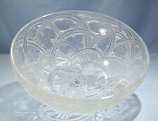 French Lalique Clear to Frosted Glass Hand Etched Bowl Art Deco Style