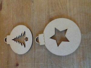 Wooden MDF Christmas Decorations Embellishment craft Blank - Set of 2