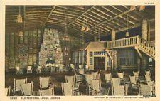 1940s Old Faithful Lodge Lounge interior Wyoming Teich Haynes postcard 11047