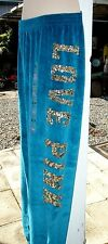 NWT Victoria Secret Pink Sequin Bling Turquoise Blue Velour Skinny Pants S NEW