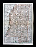 1902 Century Map Mississippi Jackson Natchez Vicksburg Gulf Shores Biloxi Oxford