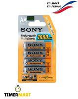 Piles Sony 1800 mAh NiMH C E Green AA LR6 Batteries Pack de 4 Piles