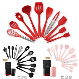 10pcs Silicone Kitchen Utensils Set Non-stick Spatula Shovel with Wooden Handle